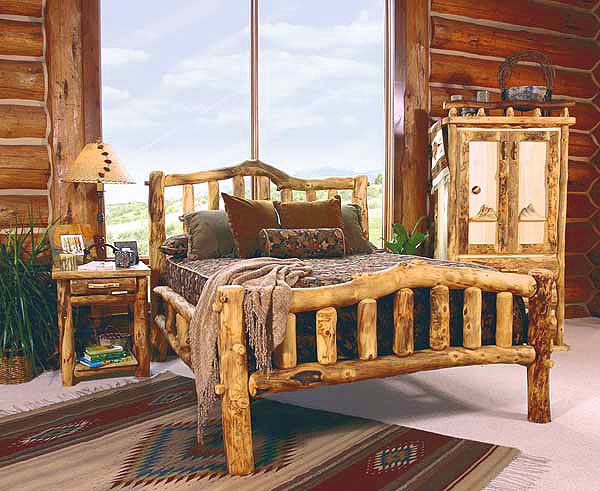 ... Log Bedroom Furniture  Log Furniture Bed  Reclaimed Wood Log Beds