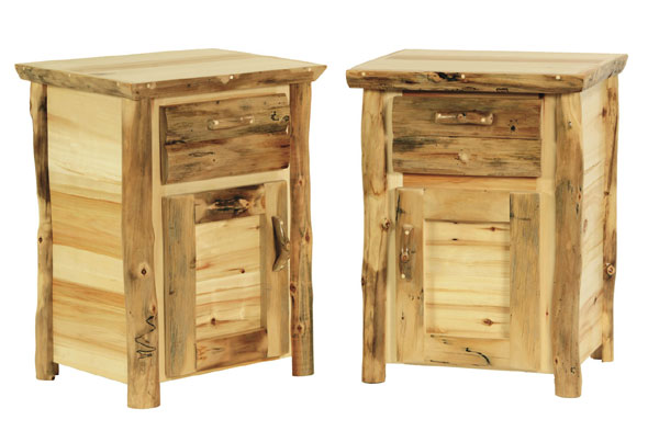Log nightstand montana skippeel log nightstand with shelf tf415 montana 2 drawer log