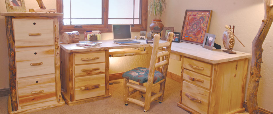 Rustic Aspen & Pine Log Furniture, Reclaimed Lodge Furniture, high