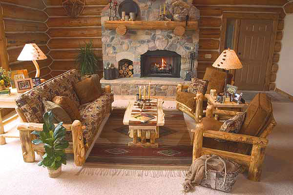 Rustic log living room furniture log glider aspen log for Log living room