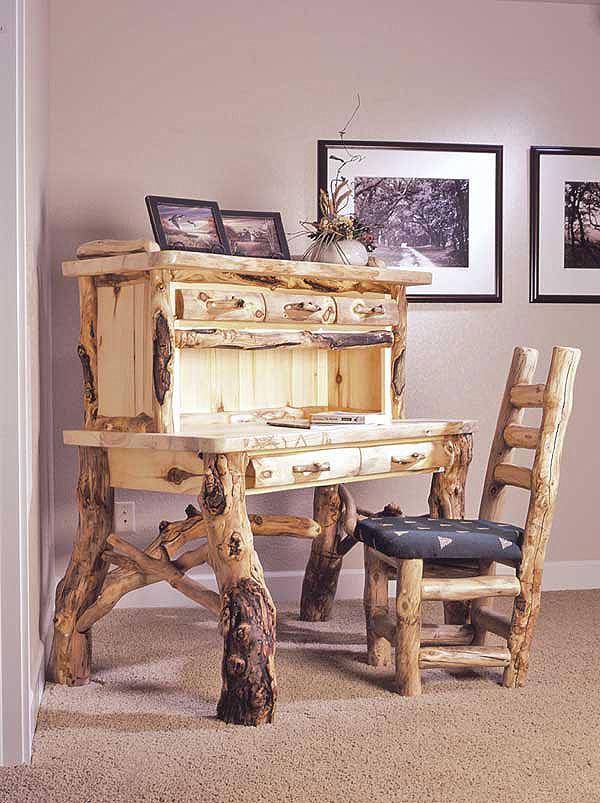 Rustic Log Office Furniture Aspen Amp Pine Log Desks Log