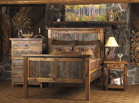 Bedroom on Rustic Reclaimed Wood Furniture   Sustainable Furniture