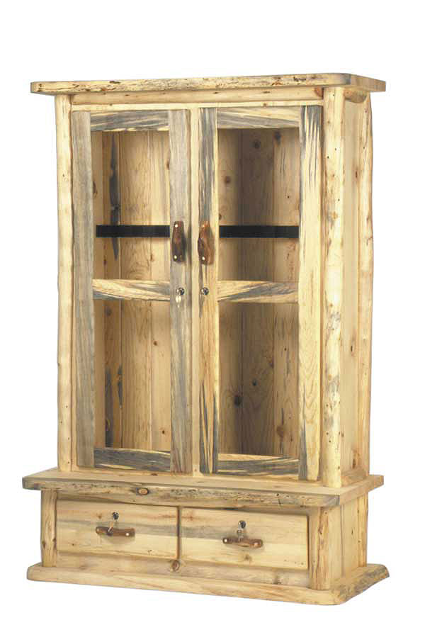 Rustic Aspen Pine Log Pub Tables Gun Cabinets